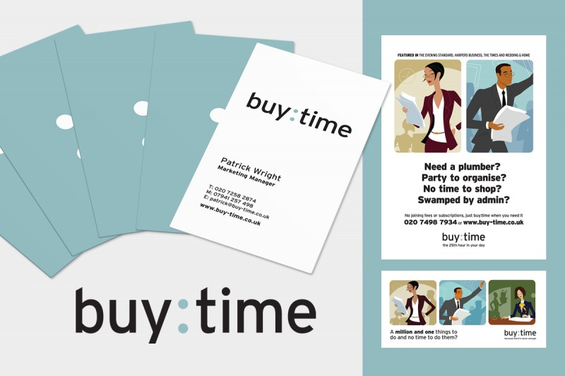 Identity design for buy:time, a concierge company for time-stretched London professionals.