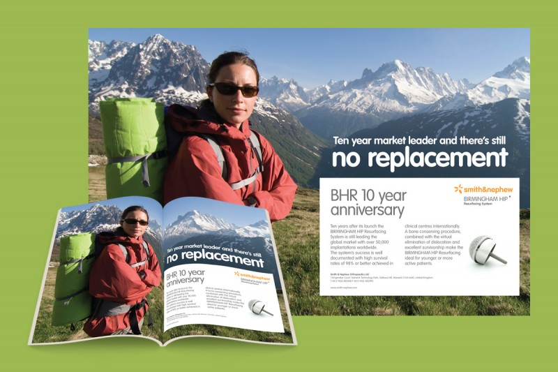 Art direction and copywriting for Smith & Nephew. A double page spread advert promoting their durable hip replacements.