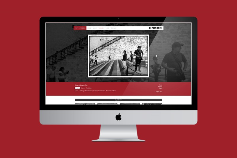 Website development and design for Toby Deveson, who uses traditional techniques to create landscape and documentary photographs.